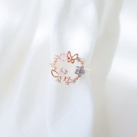 Rose Gold  Ring Korea Made Earrings Cubic Zirconia Stone 925 Silver Daily Wear Fashion Cincin  Adjustable Romantic  Gift