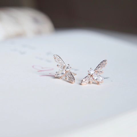 Rose Gold Firefly Earrings