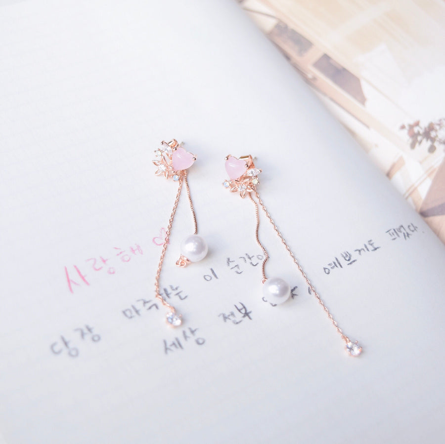 Rose Gold Korea Made Earrings Local Brand in Malaysia Cubic Zirconia