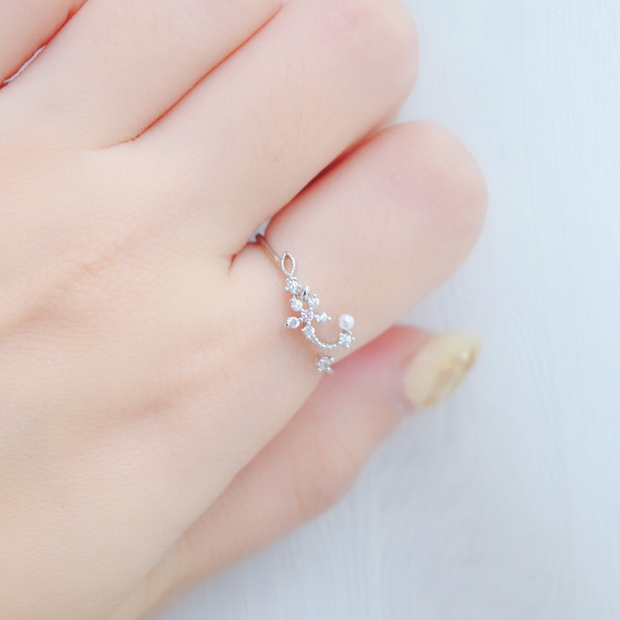 Silver Ring Korea Made Earrings Cubic Zirconia Stone 925 Silver Daily Wear Fashion Cincin Jewellery Stylish Adjustable Unique Gift Rose Gold