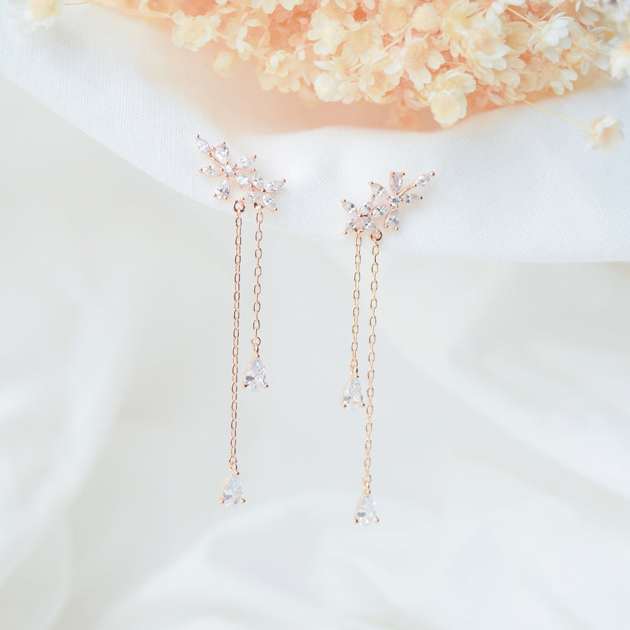 Rose Gold Korea Made Earrings Local Brand in Malaysia Cubic Zirconia Anting 925 Sterling Silver Dainty Delicate Minimalist Anting Bridal Earrings Bride Clip On Earrings Jewellery