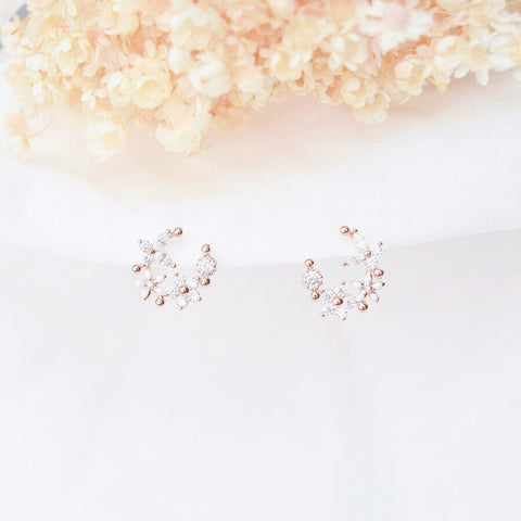 Rose Gold Korea Made Earrings Local Brand in Malaysia Dainty Minimalist 925 Sterling Silver Cubic Zirconia Clip On Earrings