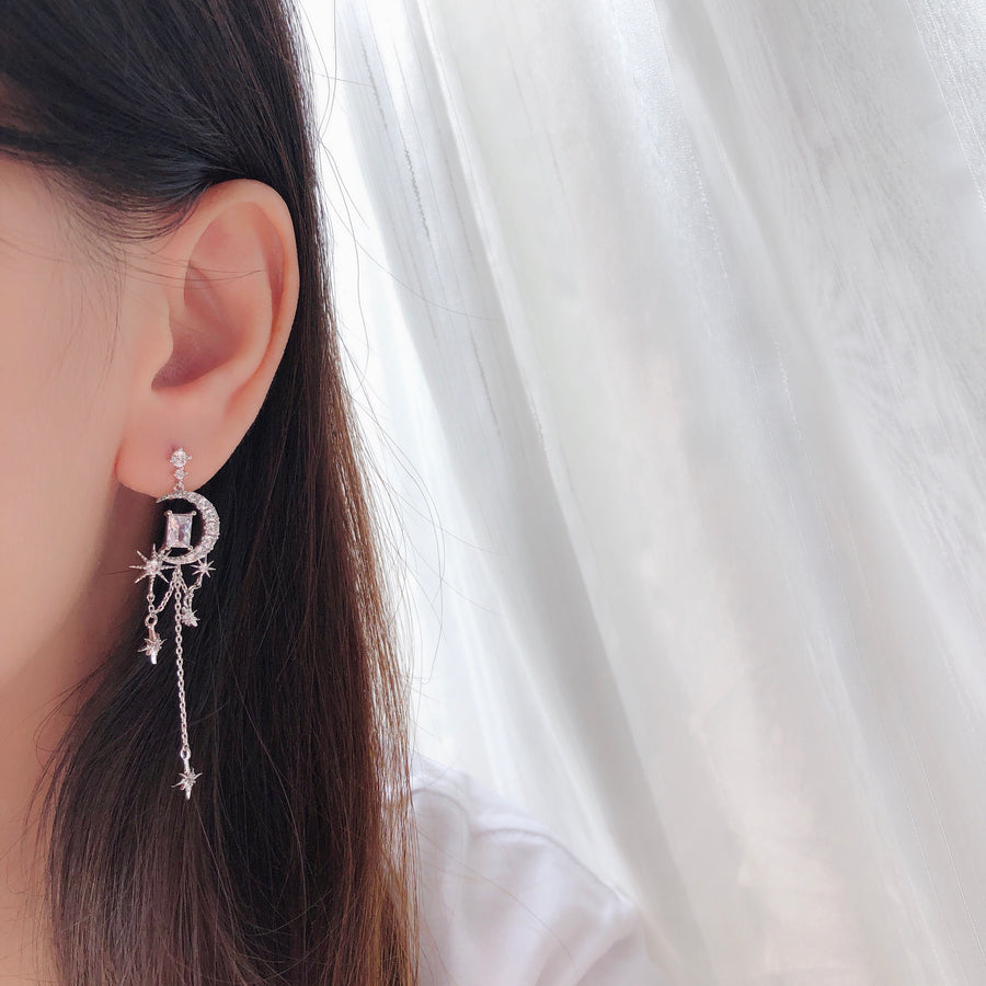 Silver Celestial Earrings