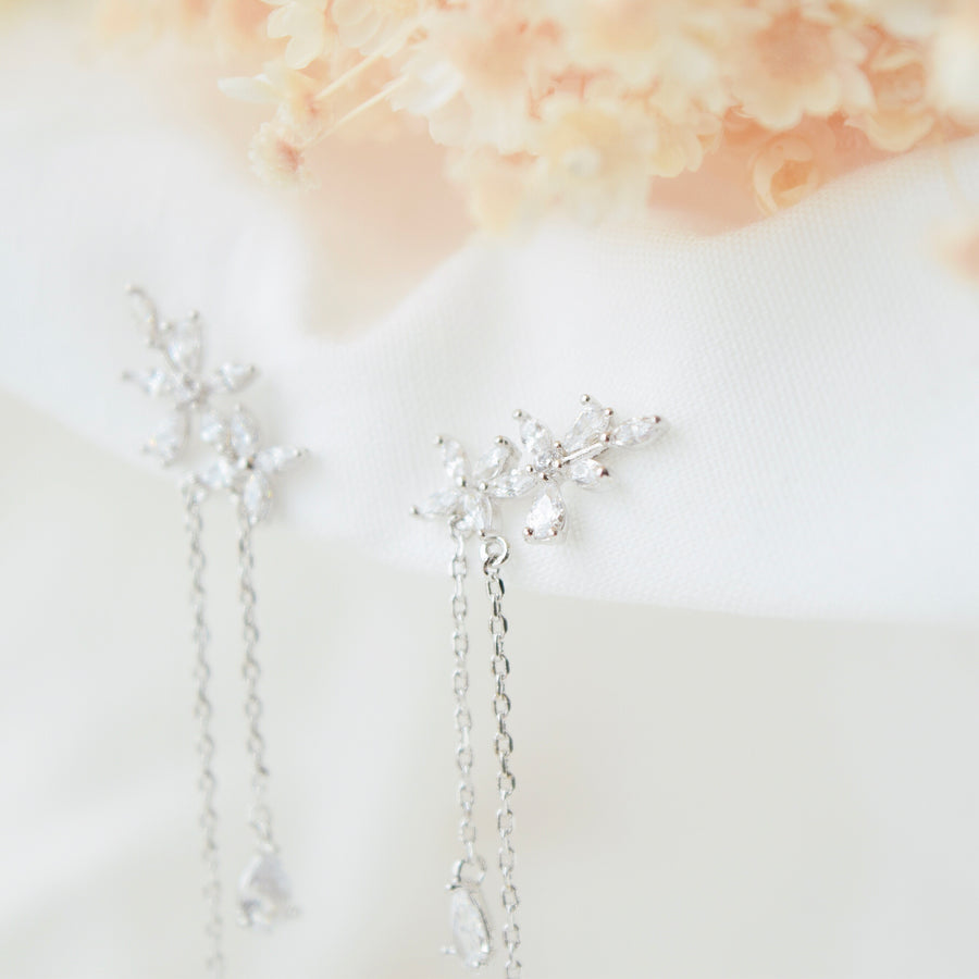 Made in Korea Earrings Korean Anting Cubic Zirconia Bride Bridal Dinner 925 Sterling Silver Accessory Fashion Fancy Stylish Jewellery Online Malaysia Shopping Trendy Accessories Daily Wear Jewelry Dainty Minimalist Delicate Clip On Earrings No Piercing Special Perfect Gift From Heart For Your Loved One