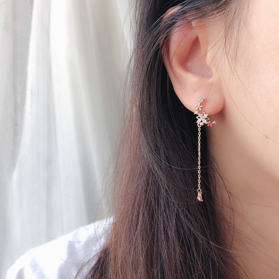 Rose Gold Clematis Earrings