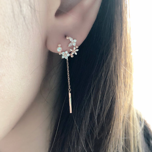 Rose Gold Korea Made Earrings Local Brand in Malaysia Cubic Zirconia Anting 925 Sterling Silver Dangle