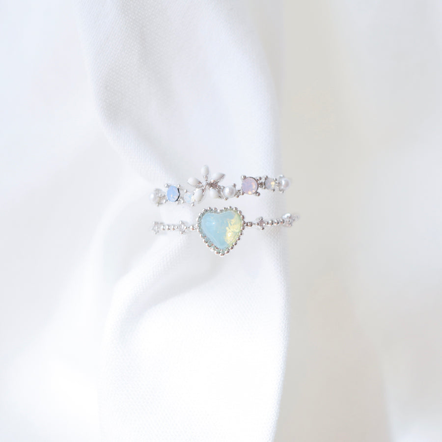Silver Ring Korea Made Earrings Cubic Zirconia Stone Rhodium Plated Daily Wear Cincin Adjustable Suitable Gifts For Her