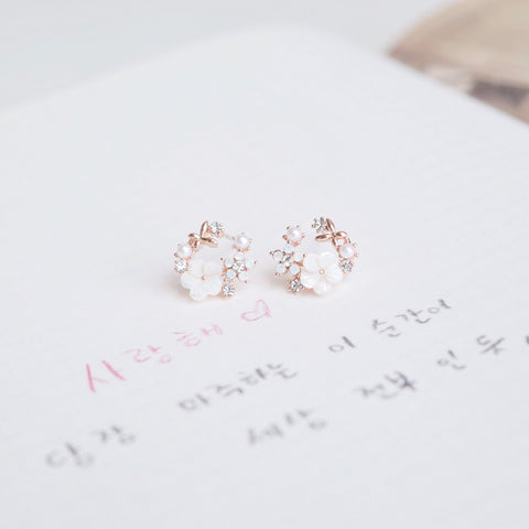 Rose Gold Snow Flower Earrings