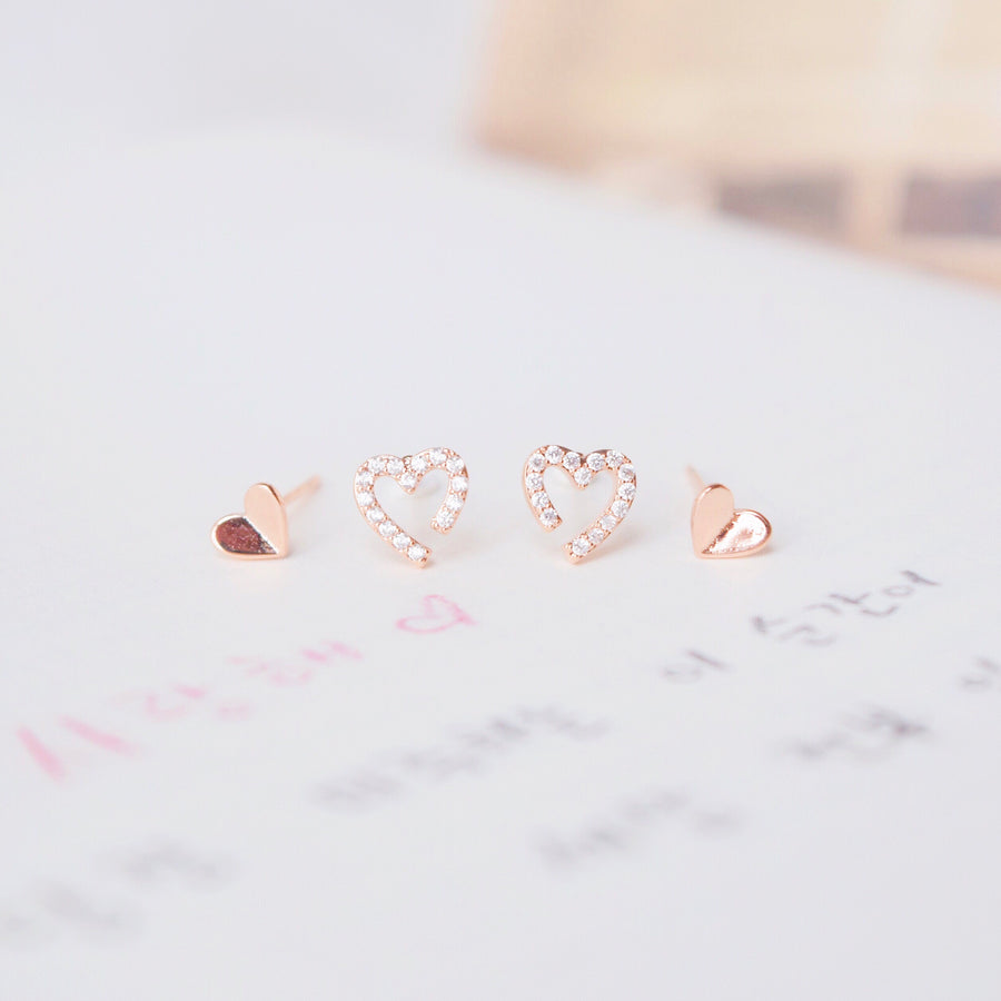 Rose Gold Mini Love Earrings