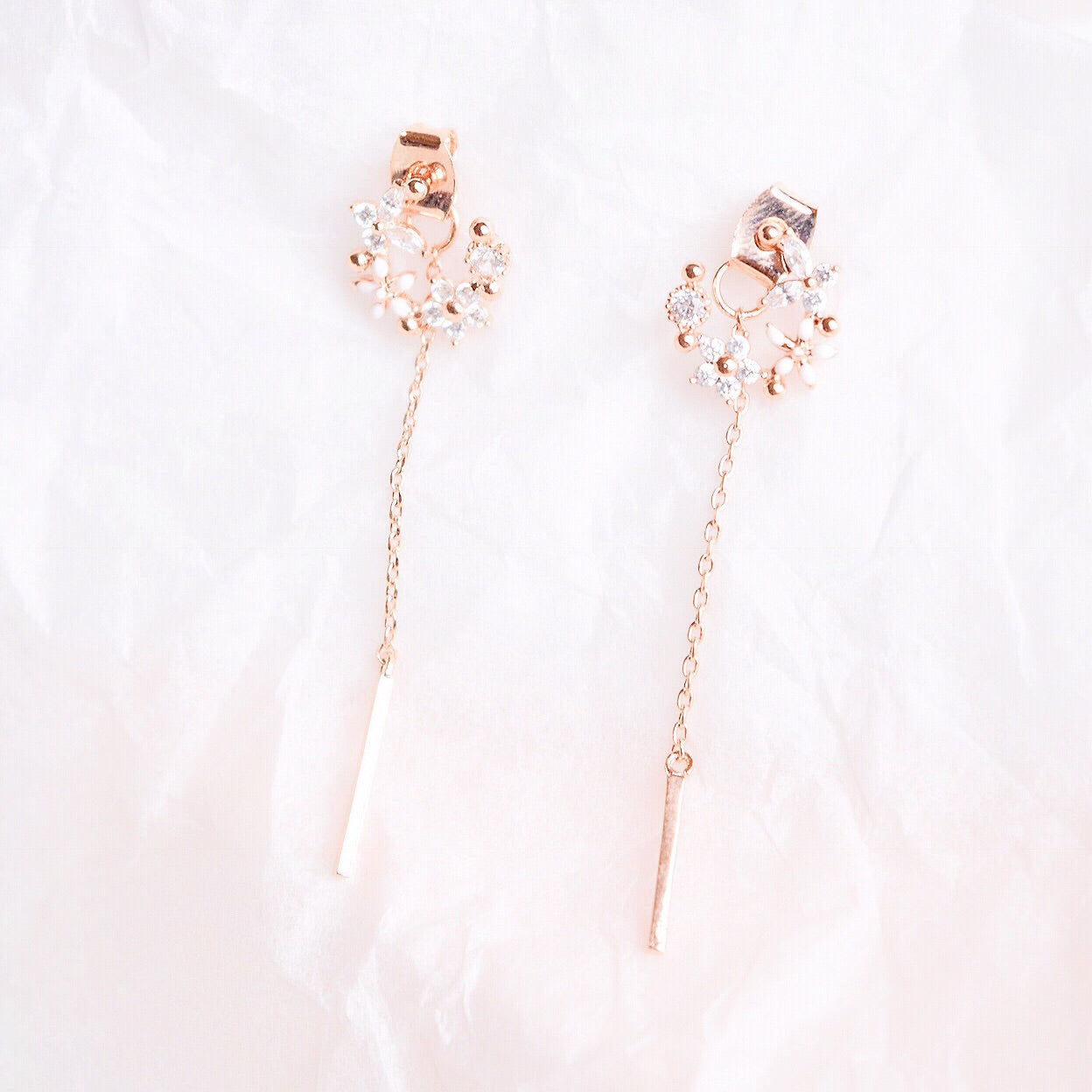 Rose Gold Korea Made Earrings Local Brand in Malaysia Cubic Zirconia Anting Dangle
