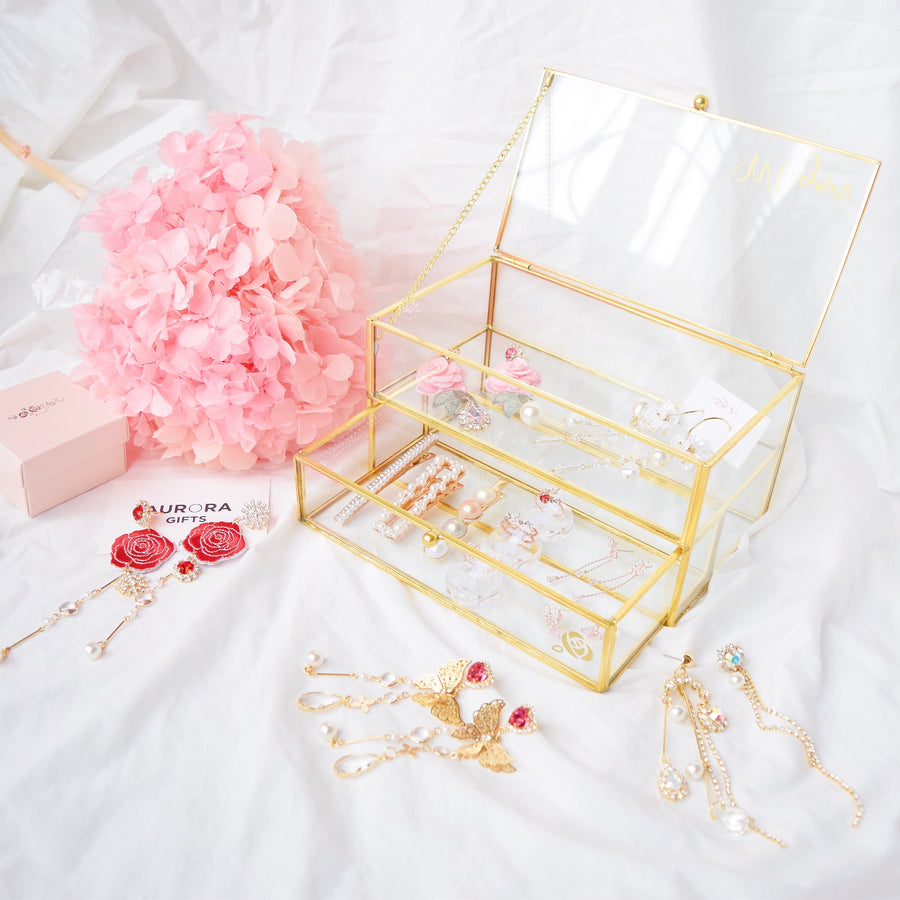 home deco gold box glass jewellery jewelry box glass trinket box made in korea malaysia storage accessories accessory