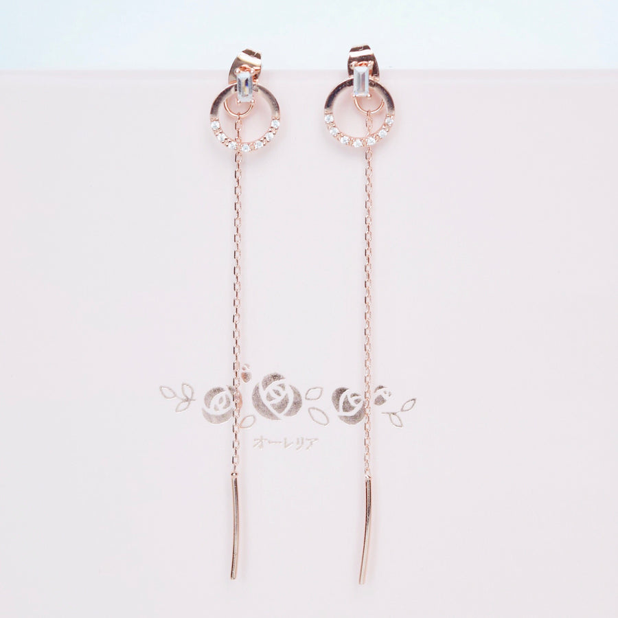 Rose Gold Korea Made Earrings Local Brand in Malaysia Dainty Minimalist Cubic Zirconia