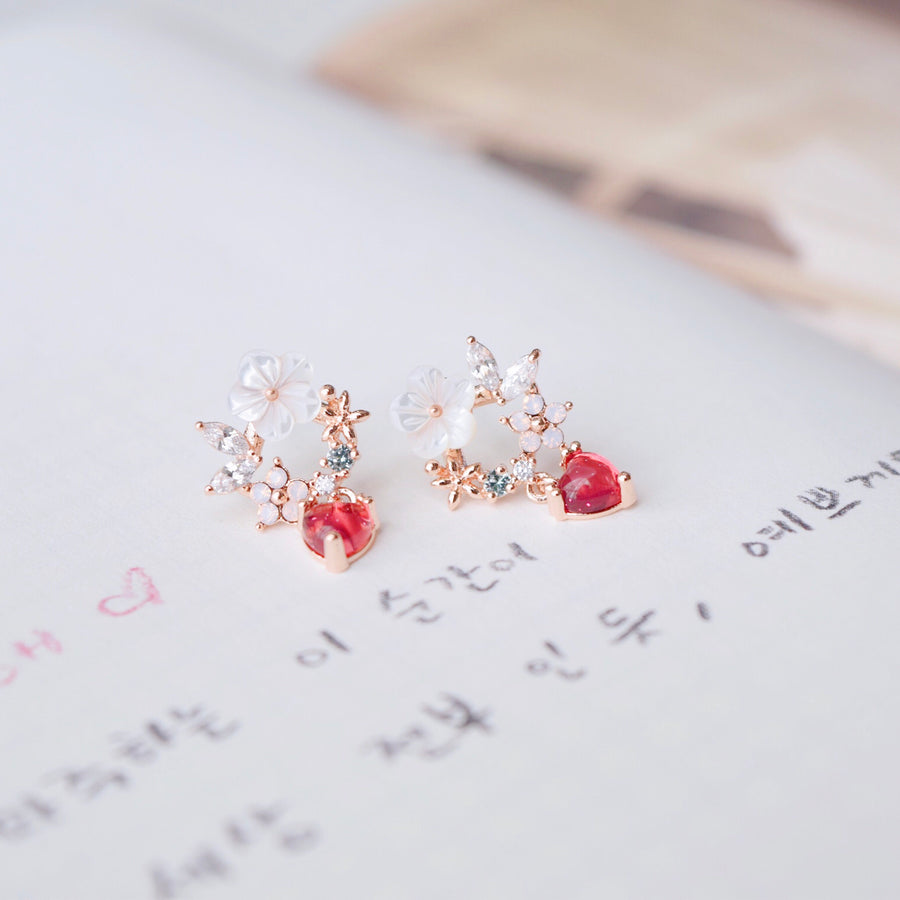 Ruby Ranunculus Earrings