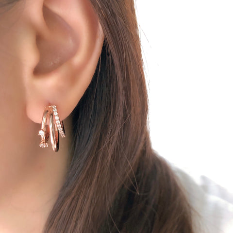 Hotel del Luna IU Rose Gold Made in Korea Earrings Korean Anting Cubic Zirconia Bride Bridal Dinner 925 Sterling Silver Accessory Fashion Fancy Stylish Costume Jewellery Online Malaysia Shopping Trendy Accessories Daily Wear Jewelry Dainty Minimalist Delicate Clip On Earrings No Piercing Special Perfect Gift From Heart For Your Loved One Hotel del Luna penthouse k drama bold earrings It's Okay to Not Be Okay chinese new year gift for her surprise present korean drama