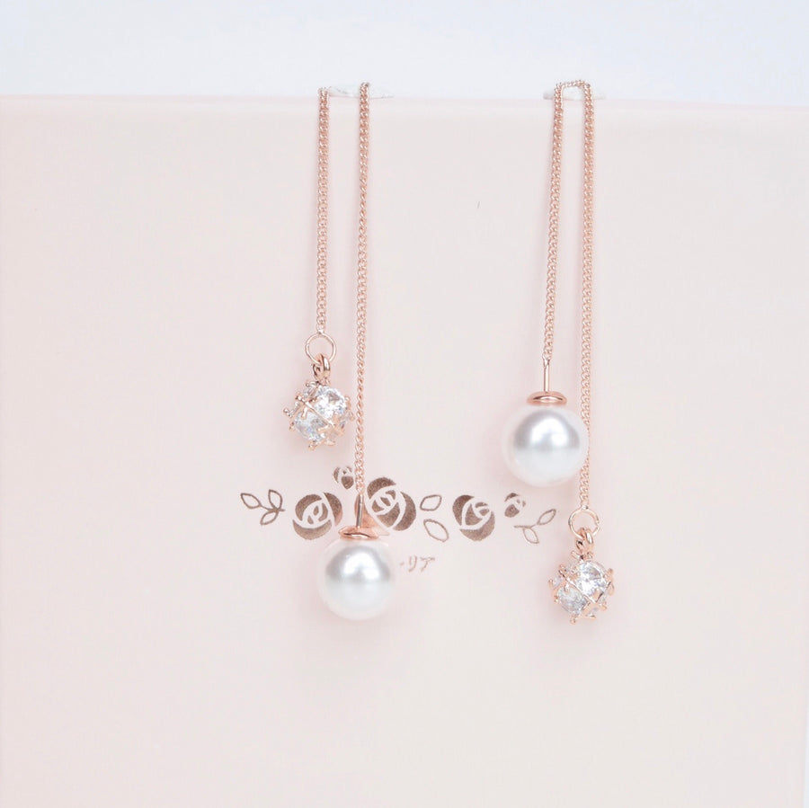 Silver Korea Made Earrings Local Brand in Malaysia Dainty Minimalist Cubic Zirconia