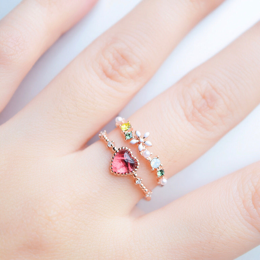 Rose Gold Ring Korea Made Earrings Cubic Zirconia Stone 925 Silver Daily Wear Fashion Stylish Cincin Adjustable Perfect Surprise Gift For Her On Special Day