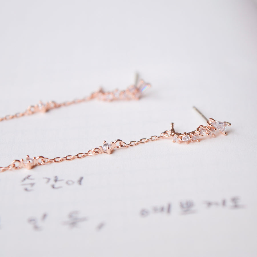 Rose Gold Korea Made Earrings Dainty Delicate Local Brand in Malaysia 925 Sterling Silver Anting
