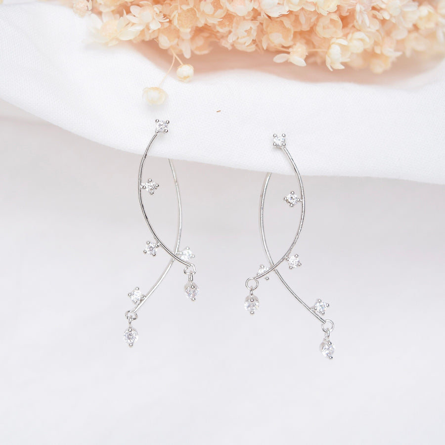 Silver Korea Made Earrings Korean Jewellery Jewelry Local Brand in Malaysia Cubic Zirconia Dainty Delicate Minimalist Jewellery Jewelry Bridal Bride Clip On Earrings 925 Sterling Silver Dinner Accessory