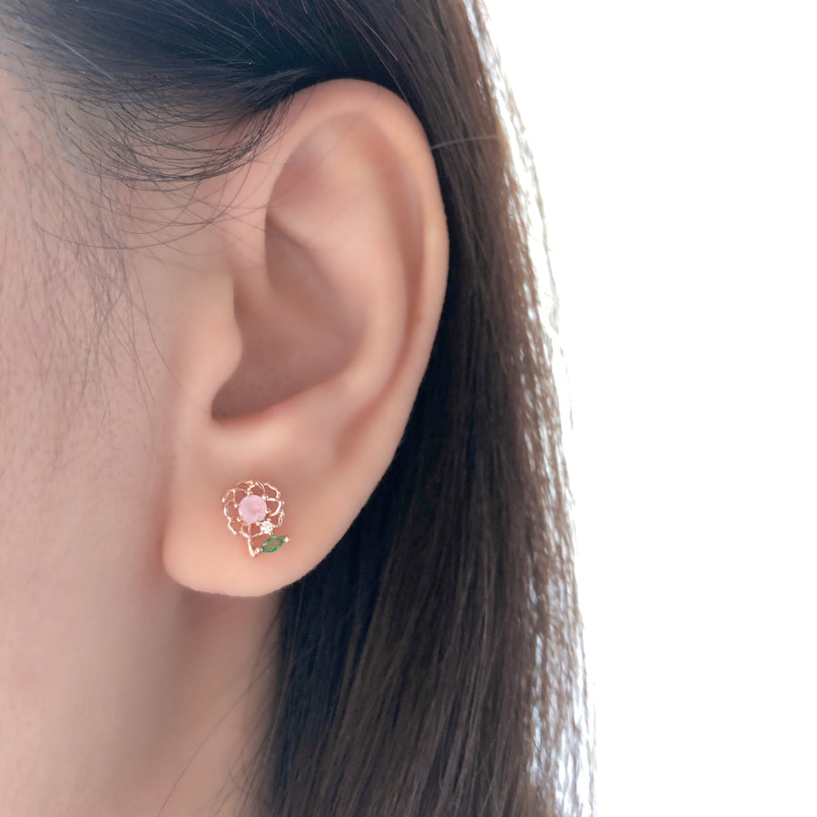 Rose Gold Iceberg Rose Earrings