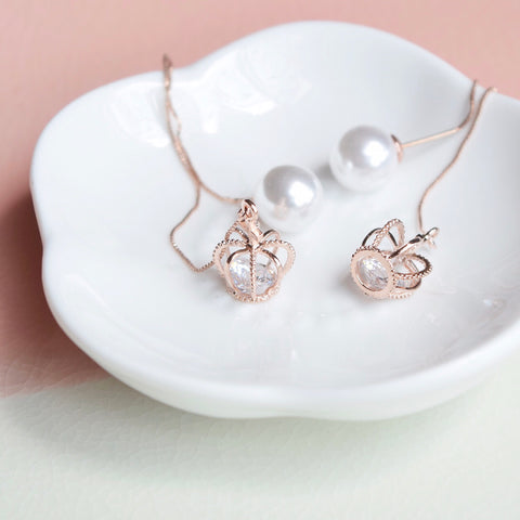 Rose Gold Tiara Floating Earrings
