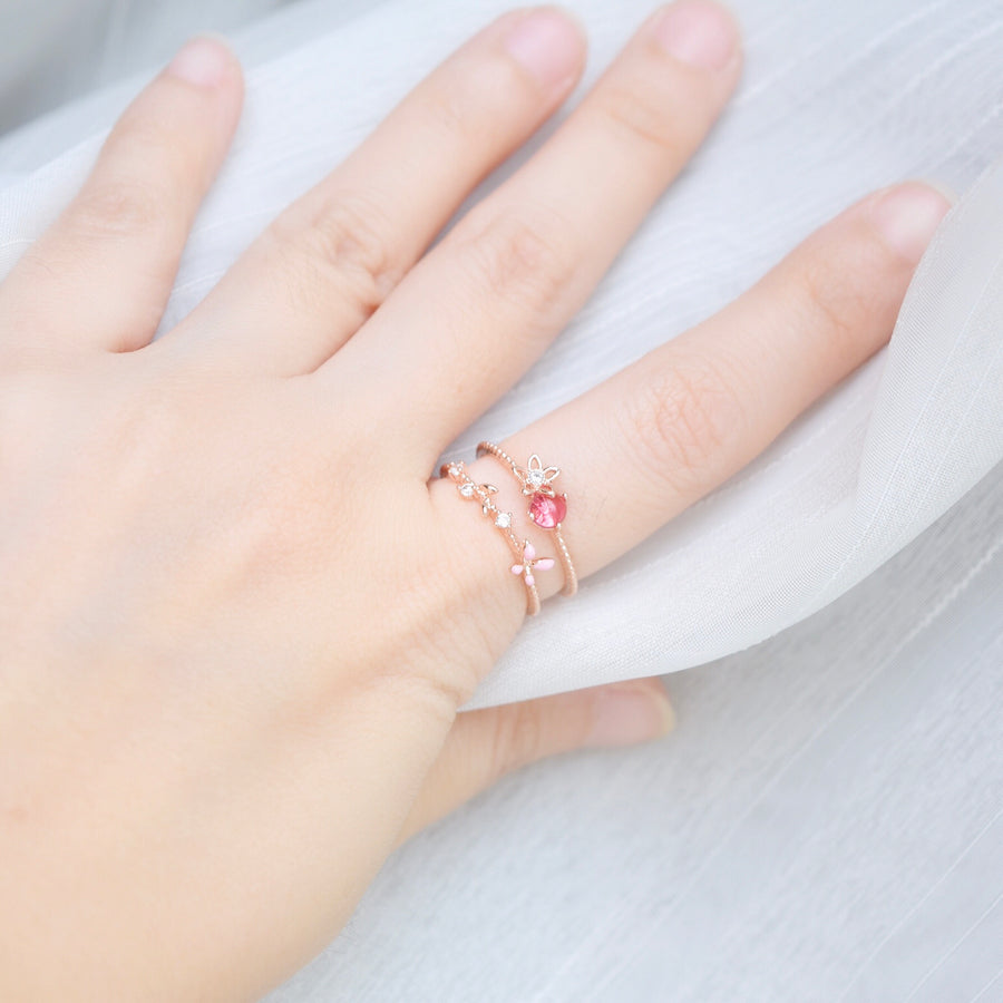 Rose Gold Ring Korea Made Earrings Cubic Zirconia Stone 925 Silver Daily Wear Cincin Adjustable Gift For Her Surprise Anniversary