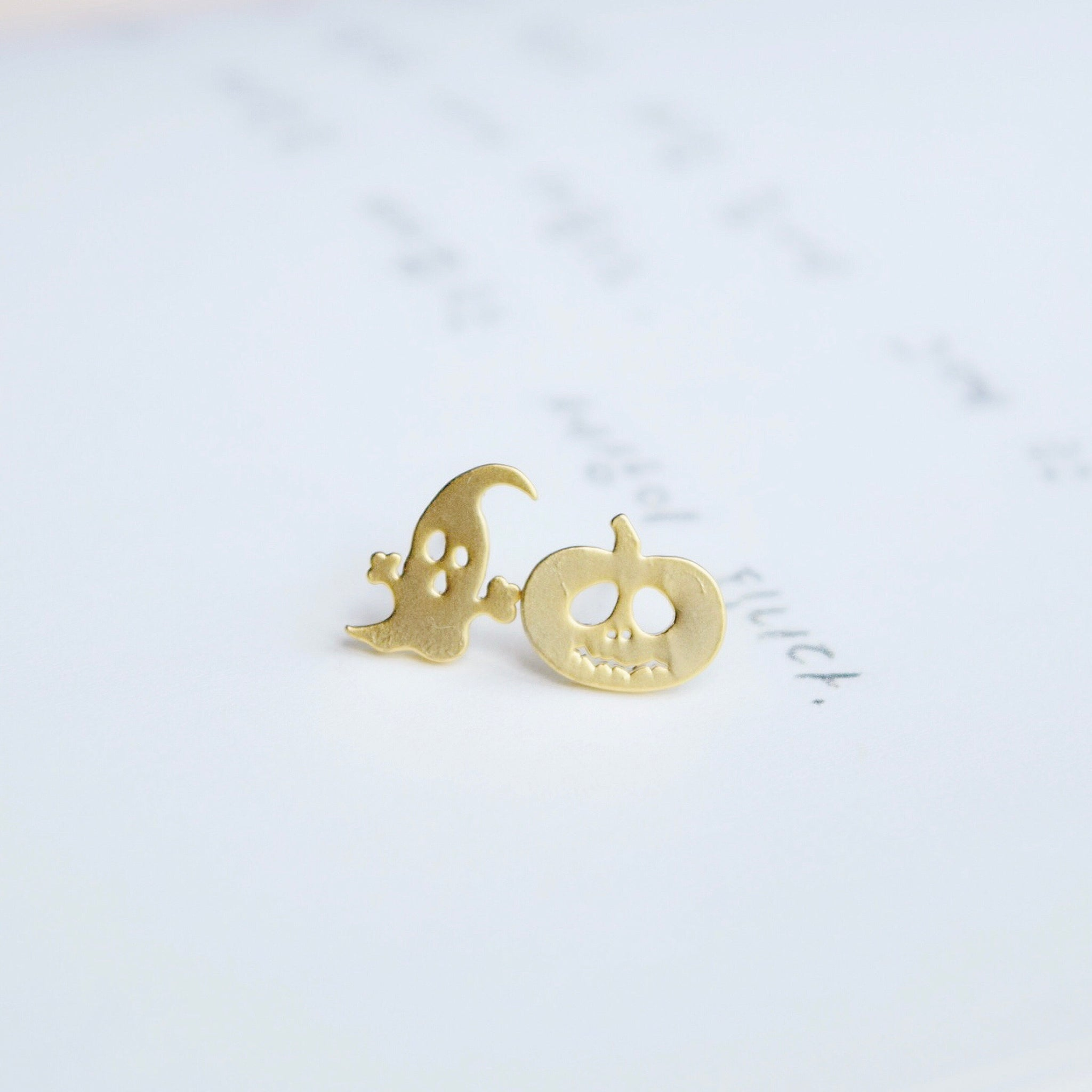Gold Ghost & Pumpkin Earrings