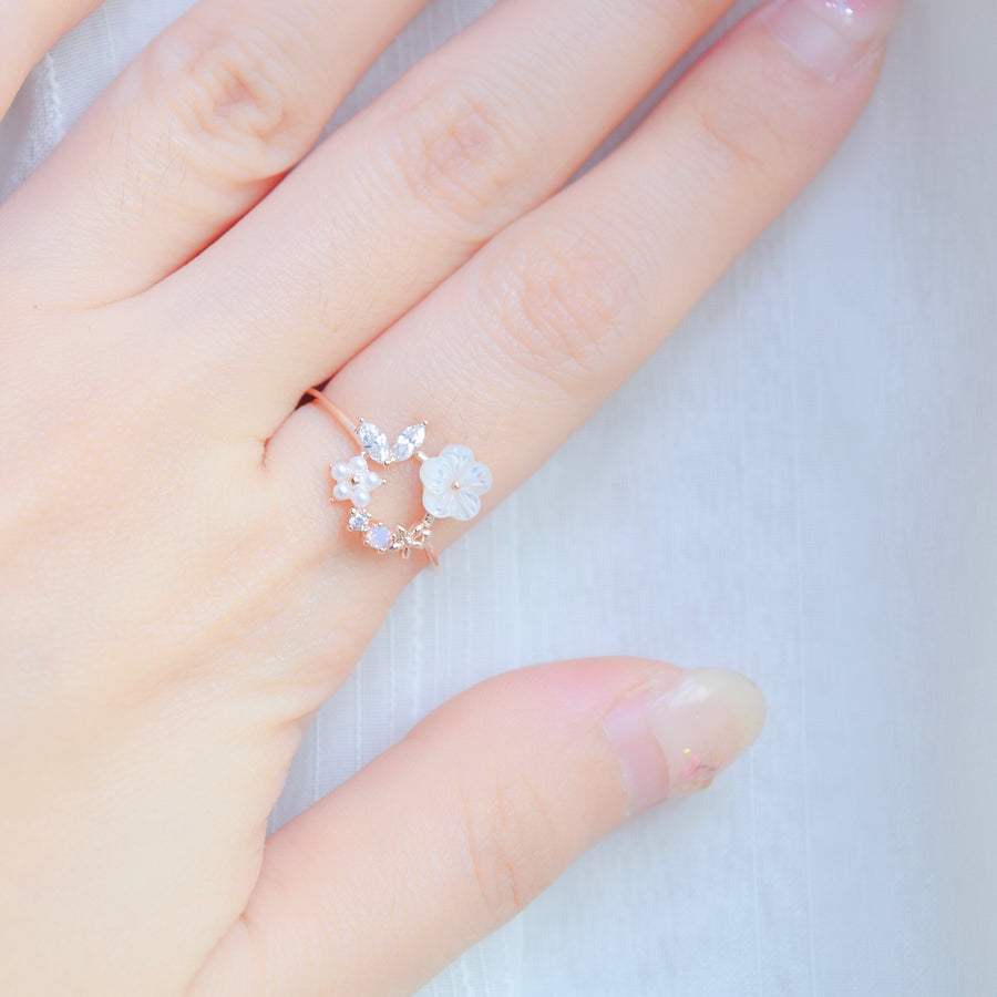 Rose Gold  Ring Korea Made Earrings Cubic Zirconia Stone 925 Silver Daily Wear Fashion Stylish Cincin Adjustable Best Gift For Woman