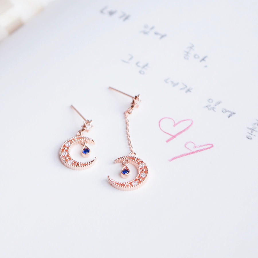 Rose Gold Illuminate Moon Earrings