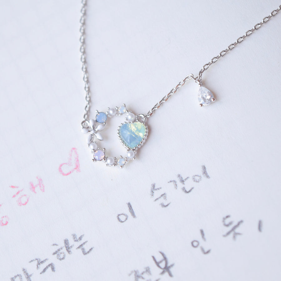 Silver Made in Korea Necklace Korean Rantai Leher Cubic Zirconia Bride Bridal Dinner Rhodium Plated Accessory Fashion Fancy Stylish Jewellery Online Malaysia Shopping Trendy Accessories Daily Wear Jewelry Dainty Minimalist Delicate Special Perfect Gift From Heart For Your Loved One