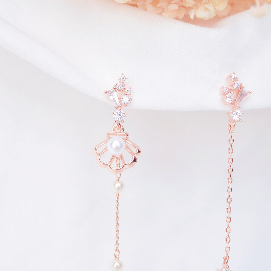 Rose Gold Korea Made Earrings Local Brand in Malaysia 925 Sterling Silver Cubic Zirconia Clip On Earrings