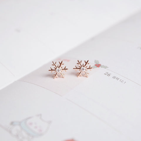 Rose Gold Mini Snowflake Earrings