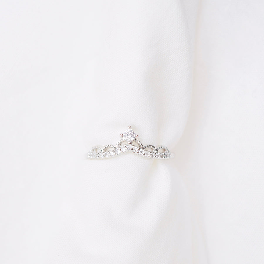 Silver Ring Korea Made Earrings Cubic Zirconia Stone 925 Silver Daily Wear Fashion Cincin Jewellery Stylish Adjustable Unique Gift Tiara Ring