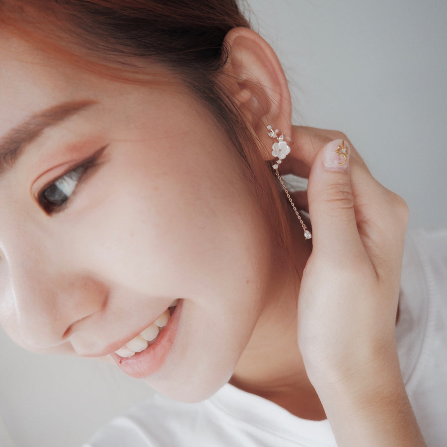 Rose Gold Korea Made Earrings Local Brand in Malaysia Cubic Zirconia Anting