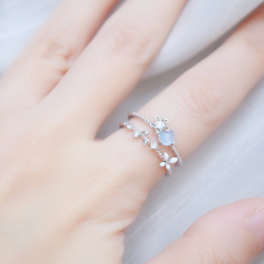 Silver Ring Korea Made Earrings Cubic Zirconia Stone 925 Silver Daily Wear Cincin Adjustable Perfect Surprise Warm Gift For Her On Special Day