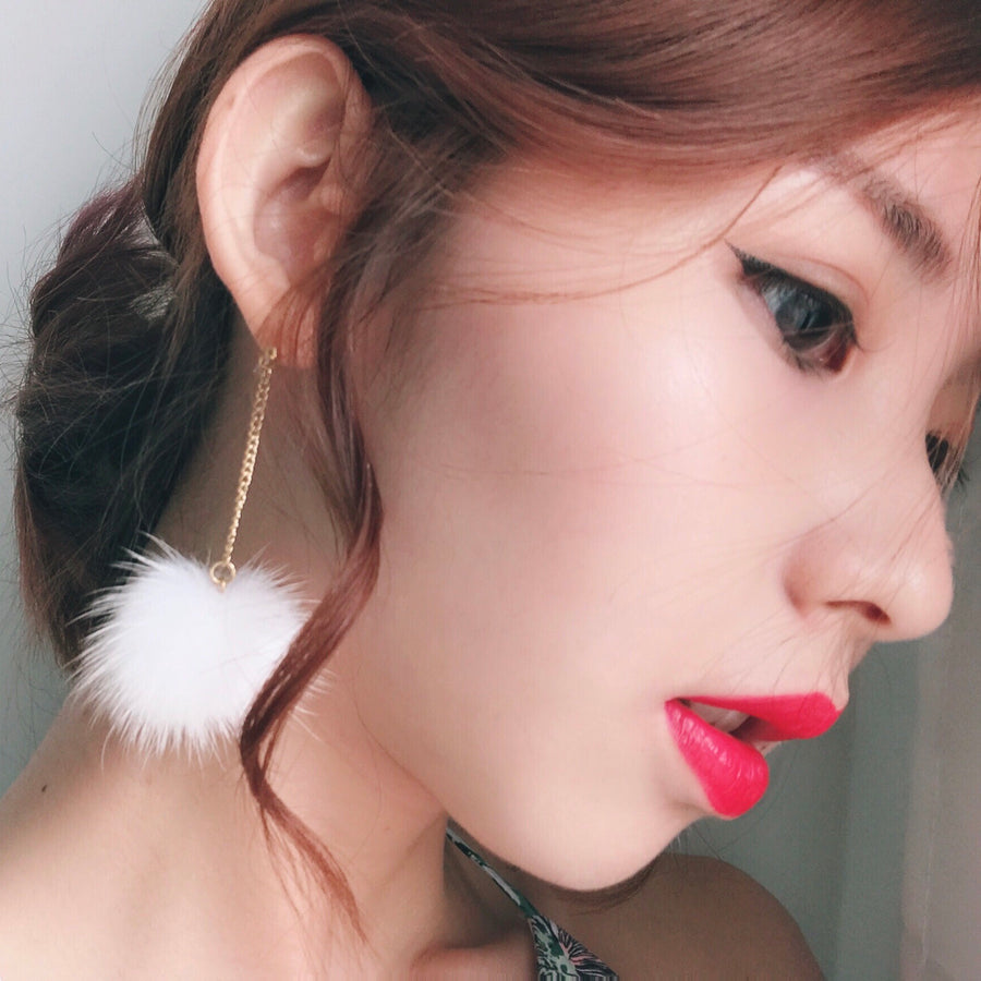 White Pom Pom Earrings