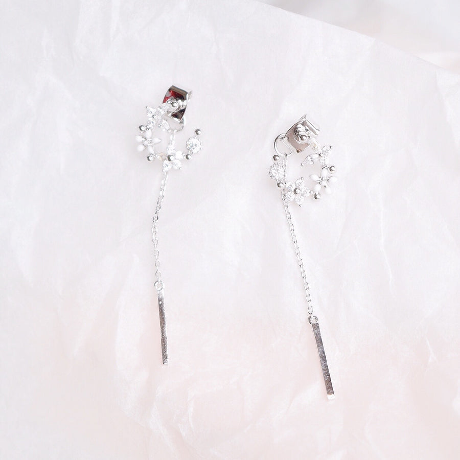Silver Korea Made Earrings Local Brand in Malaysia Cubic Zirconia Anting