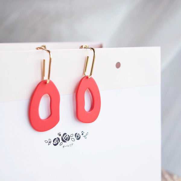Red Tsumugi Earrings