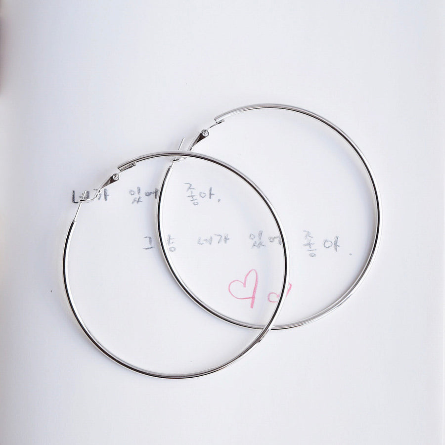 Silver 70mm Hoop Earrings