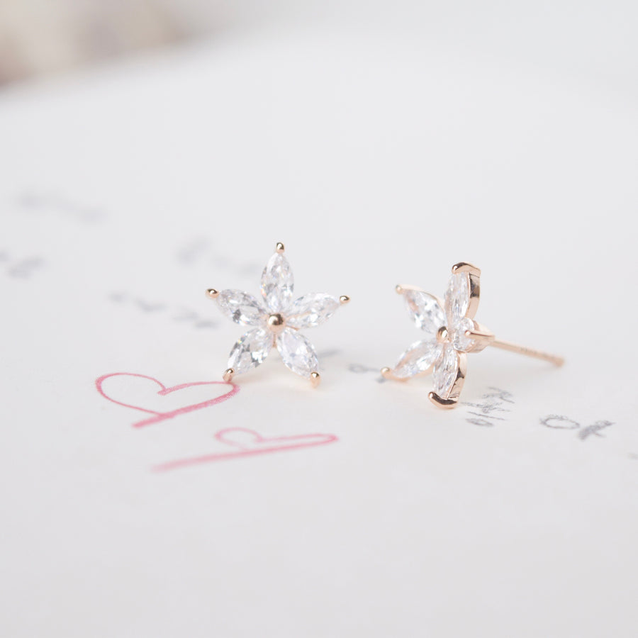 Rose Gold Korea Made Earrings Petite Stud Cubic Zirconia 925 Silver Daily Wear Earrings Can Wear to Shower Earrings