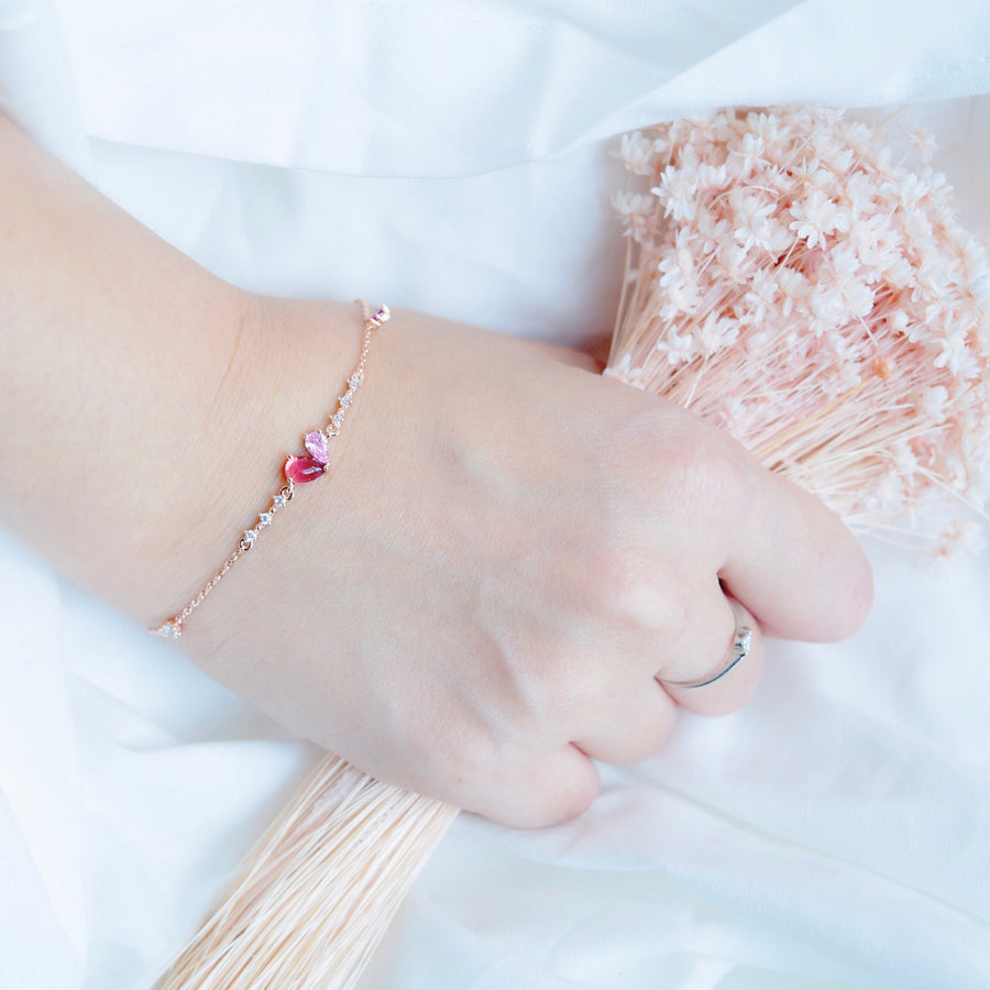 Rose Gold Made in Korea Bracelet Korean Gelang Tangan Cubic Zirconia Bride Bridal Dinner Rhodium Plated Accessory Fashion Fancy Stylish Jewellery Online Malaysia Shopping Trendy Accessories Daily Wear Jewelry Dainty Minimalist Delicate Special Perfect Gift From Heart For Your Loved One