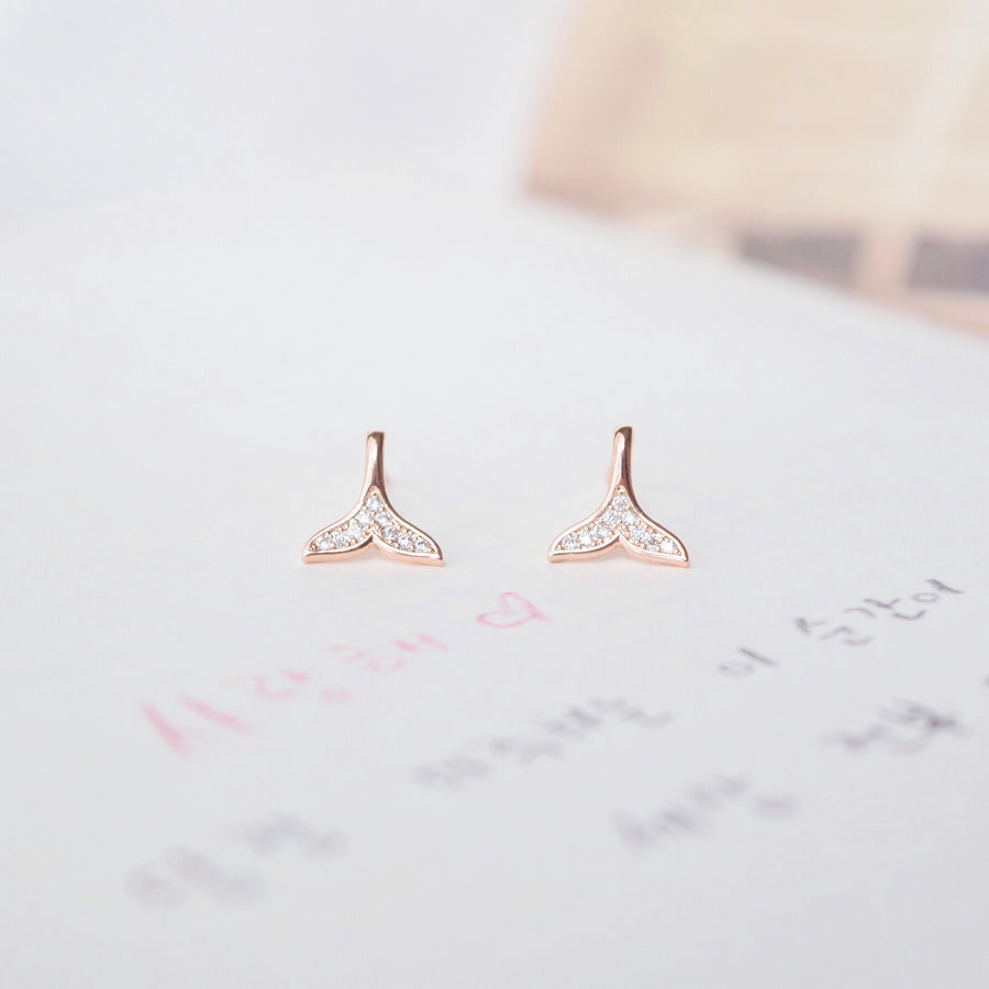 Rose Gold Whale Tail Earrings