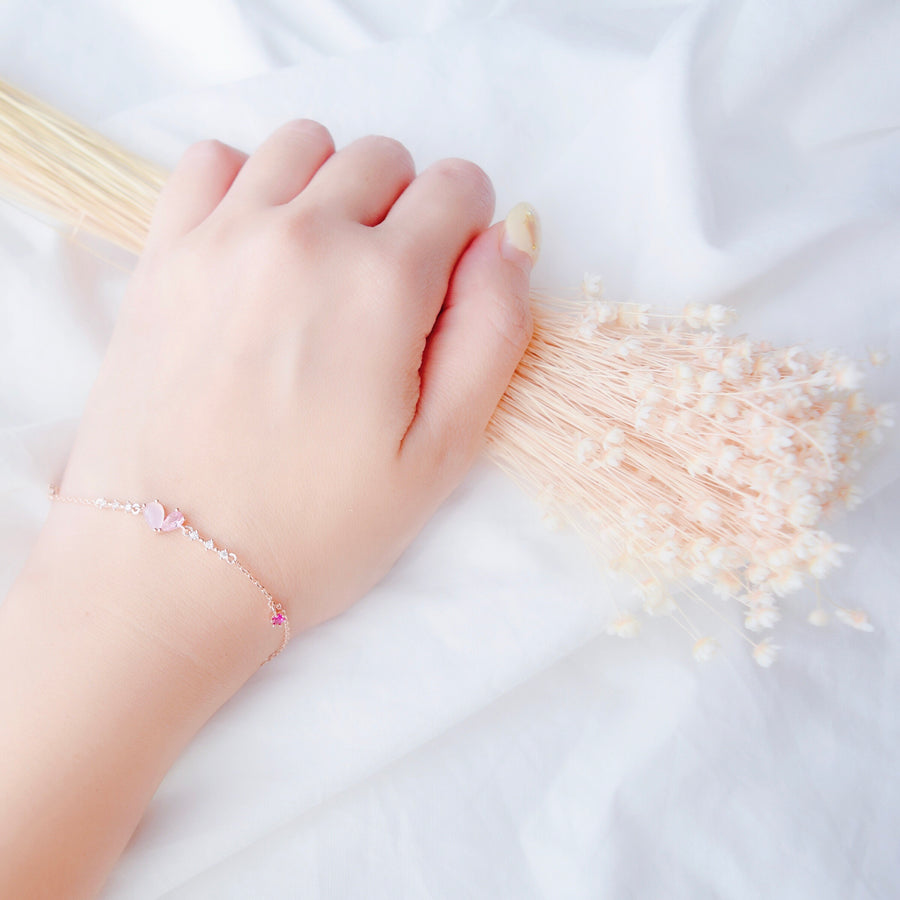 Rose Gold Made in Korea Bracelet Korean Gelang Tangan Cubic Zirconia Bride Bridal Dinner Rhodium Plated Accessory Fashion Fancy Stylish Jewellery Online Malaysia Shopping Trendy Accessories Daily Wear Jewelry Dainty From Heart For Your Loved OneMinimalist Delicate Special Perfect Gift