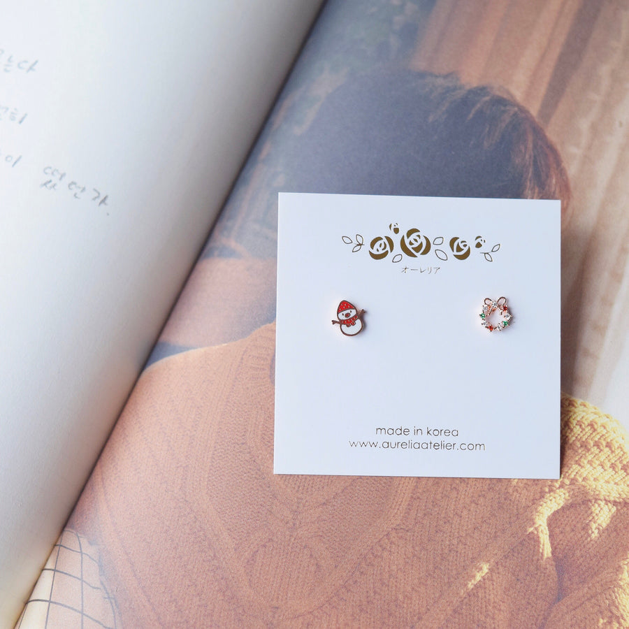 Rose Gold Snowman & Xmas Wreath Earrings