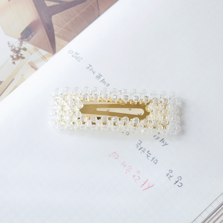 Hair Barrette Jewellery Daily Wear Crystal Bead Hair Clip Korean Fancy Style Online Malaysia Hair Pin