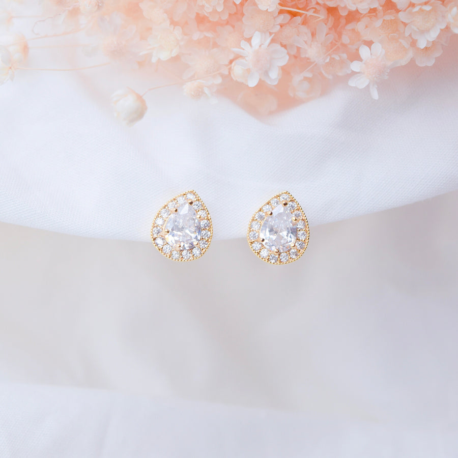 Made in Korea Earrings Korean Gold Anting Cubic Zirconia Bride Bridal Dinner Titanium Accessory Fashion Fancy Stylish Jewellery Online Malaysia Shopping Trendy Accessories Daily Wear Jewelry Dainty Minimalist Delicate Clip On Earrings No Piercing Special Perfect Gift From Heart For Your Loved One