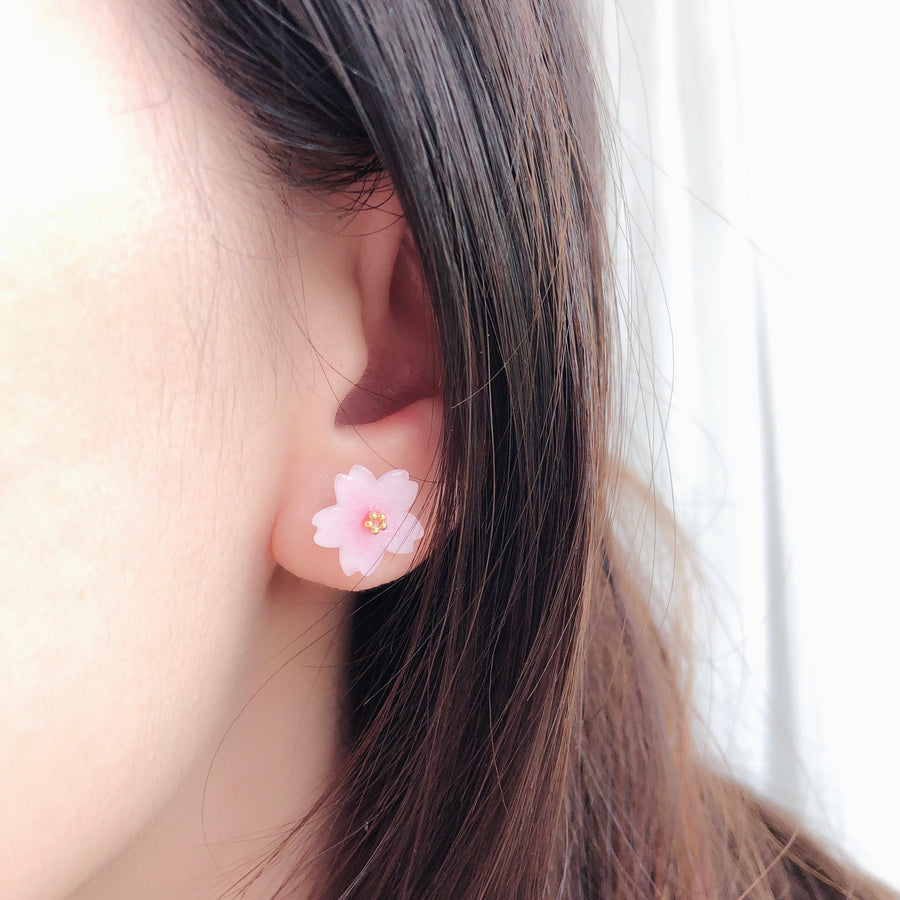 Handmade in Malaysia Earrings Sakura Anting Bride Bridal Dinner Stainless Steel Accessory Fashion Fancy Stylish Costume Jewellery Jewelry Online Malaysia Shopping Trendy Accessories Daily Wear Jewelry Dainty Minimalist Delicate Clip On Earrings No Piercing Special Perfect Gift From Heart For Your Loved One