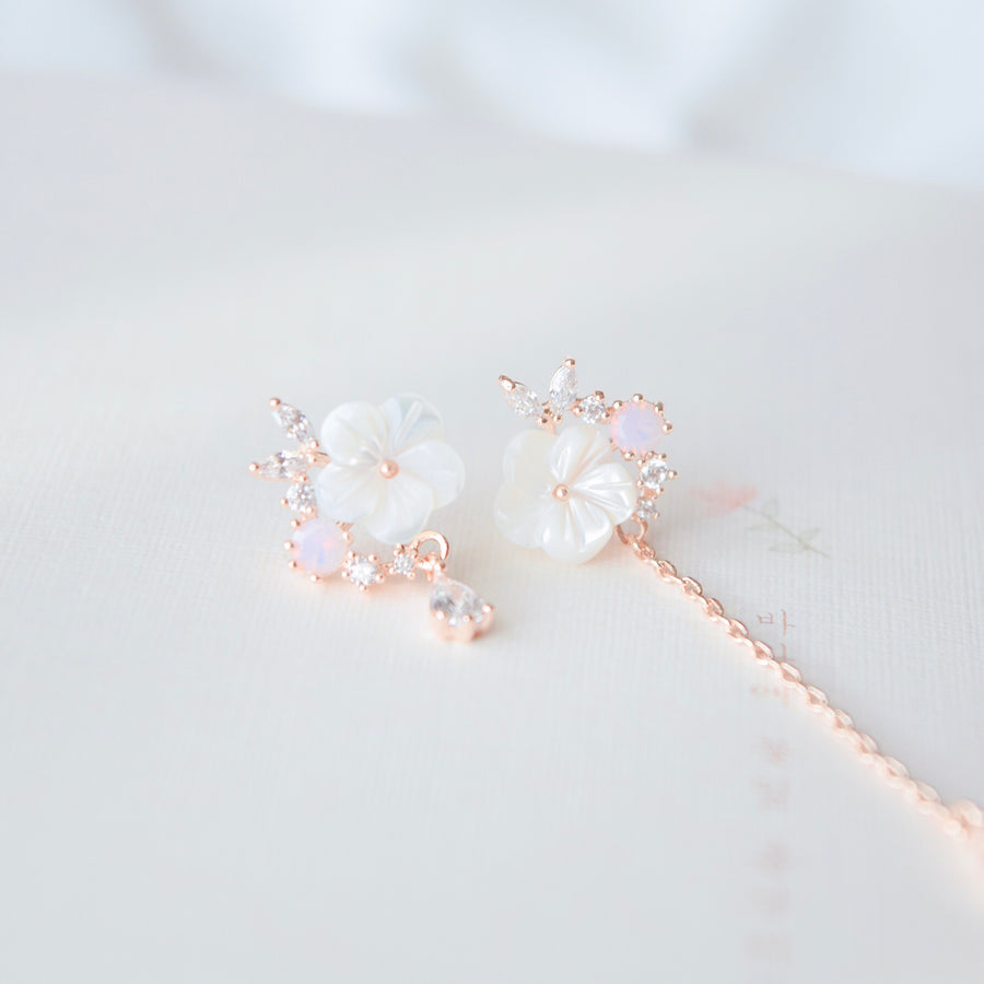 Rose Gold Korea Made Earrings Local Brand in Malaysia Cubic Zirconia 926 Sterling Silver