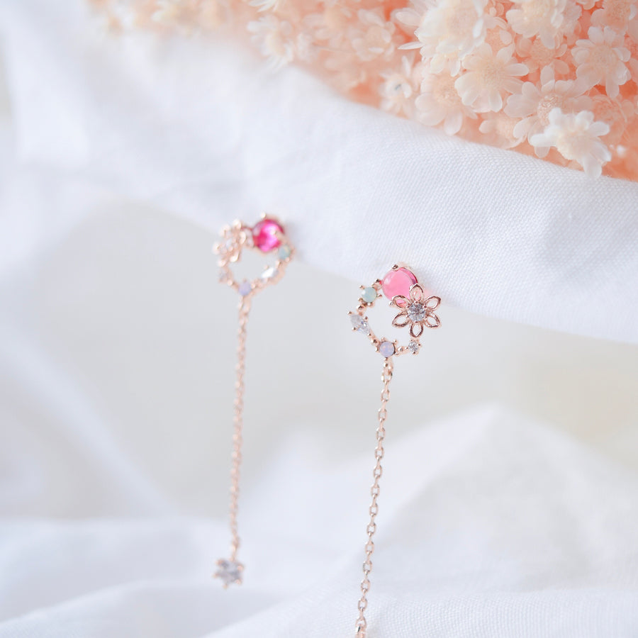 Rose Gold Korea Made Earrings Dainty Delicate Local Brand in Malaysia 925 Sterling Silver Anting Cubic Zirconia Clip On Earrings Red