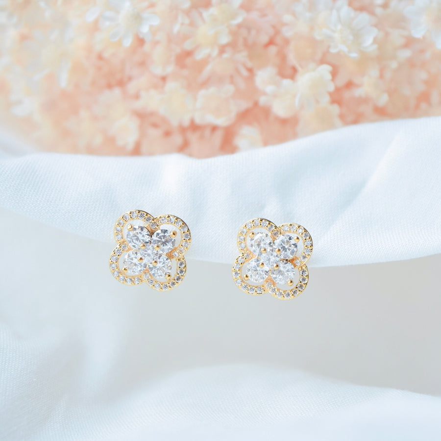 Made in Korea Earrings Gold Korean Anting Cubic Zirconia Bride Bridal Dinner Titanium Accessory Fashion Fancy Stylish Jewellery Online Malaysia Shopping Trendy Accessories Daily Wear Jewelry Dainty Minimalist Delicate Clip On Earrings No Piercing Special Perfect Gift From Heart For Your Loved One