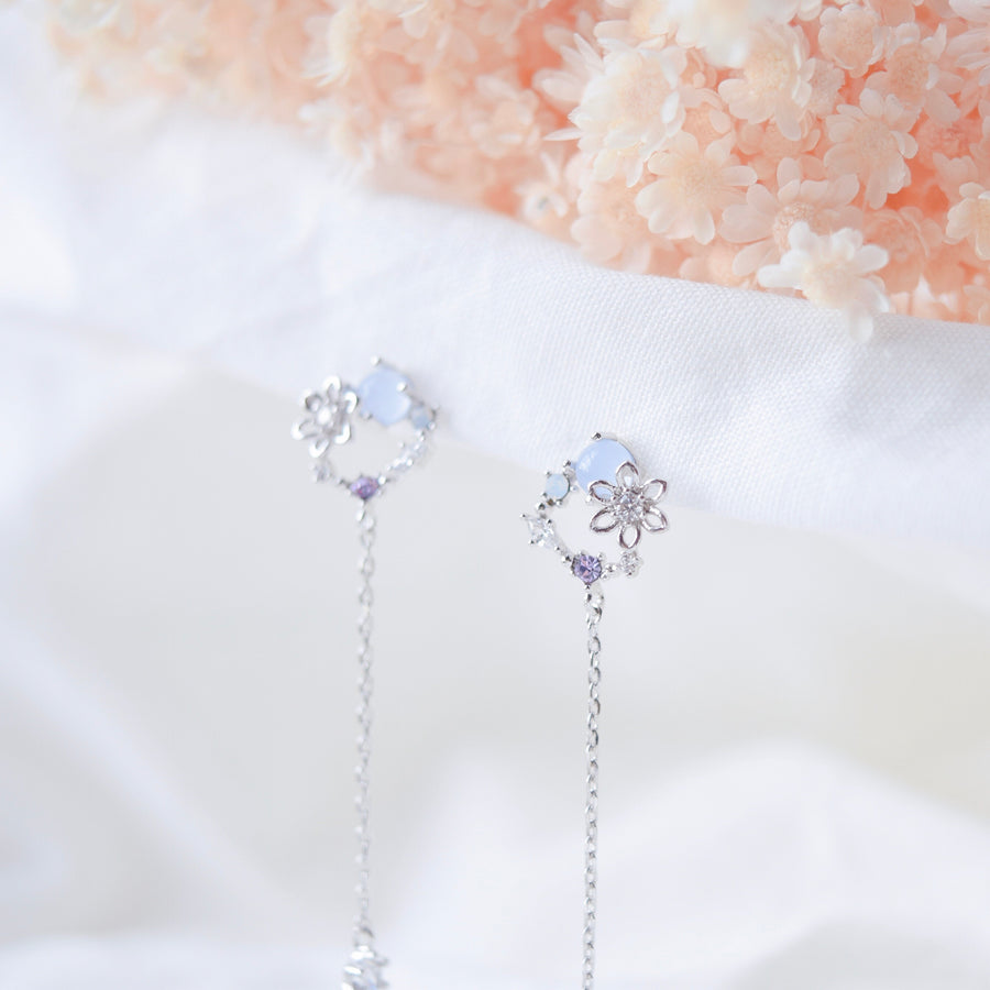 Silver Korea Made Earrings Dainty Delicate Local Brand in Malaysia 925 Sterling Silver Anting Cubic Zirconia